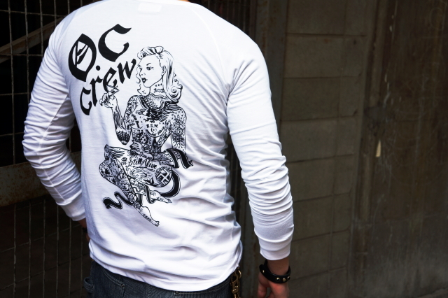 O.C CREW TATTOO PINUP L/S Tee design by BACK AND FORTH STUDIO WHITE