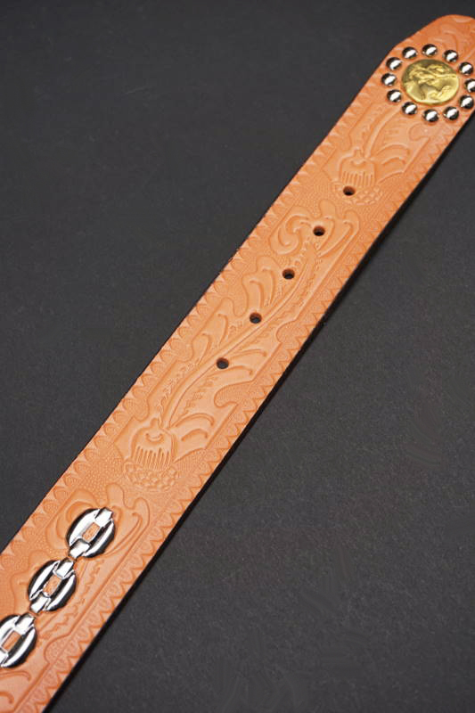 BAD QUENTIN STUDDED WESTERN BELT RUSSET
