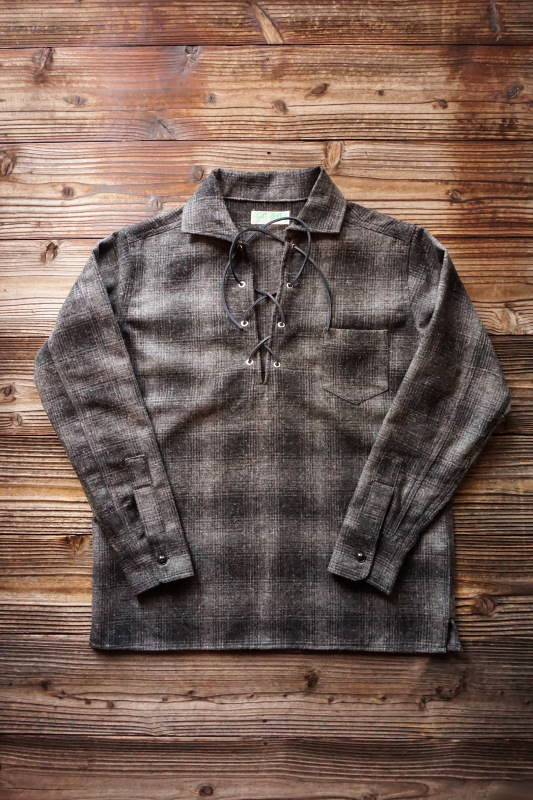 5 WHISTLE LACE - UP WOOL SHIRT BLACK
