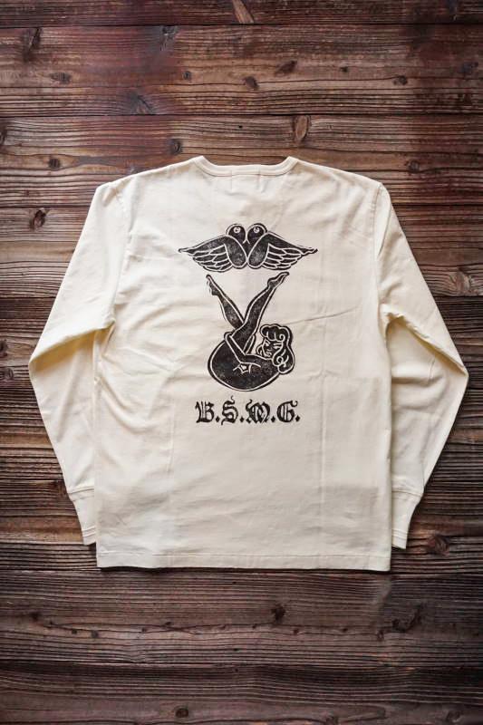 B.S.M.G. PIN UP - L/S HENRY T-SHIRTS WHITE