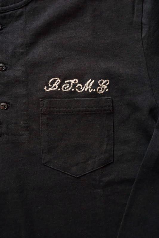 B.S.M.G. PIN UP - L/S HENRY T-SHIRTS BLACK