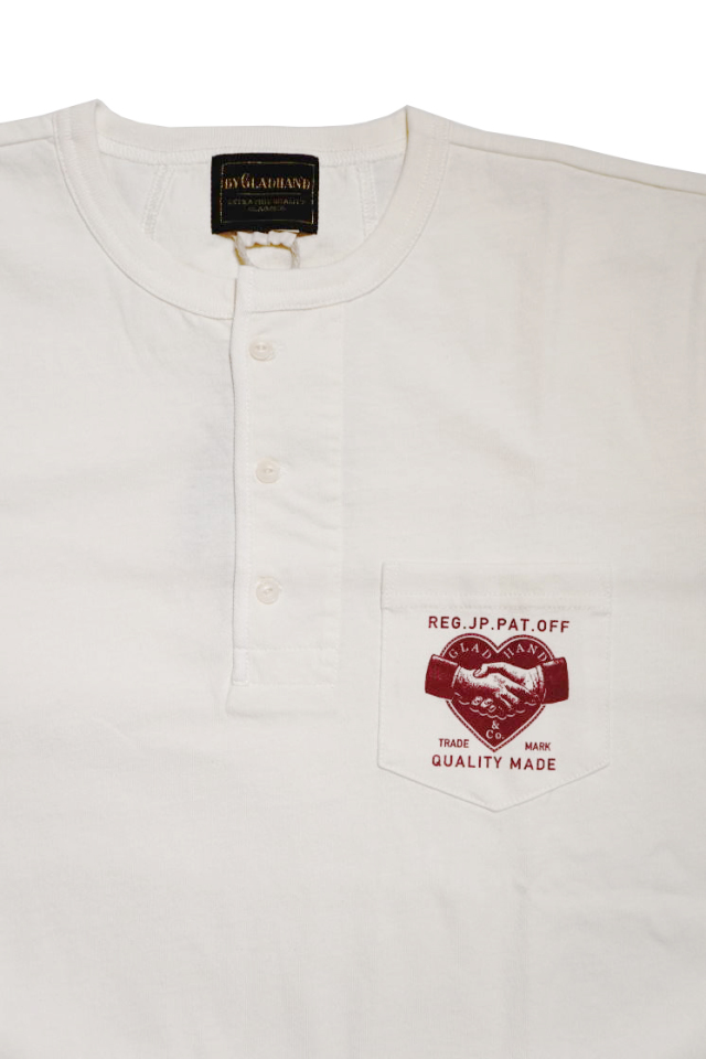 BY GLAD HAND HEARTLAND - S/S HENRY NECK T-SHIRTS WHITE×BURGUNDY