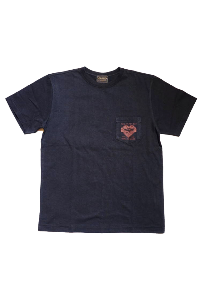 BY GLAD HAND HEARTLAND DAILY - S/S T-SHIRTS BLACK×BURGUNDY
