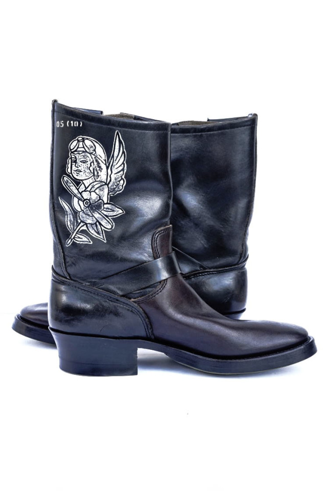 CLINCH BRASS Shoe Co. 10thAnniversary Re-build Engineer boots Hand paint by Nuts art works