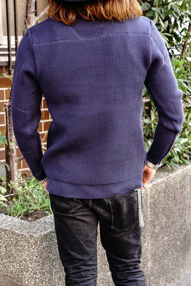 ADDICT CLOTHES JAPAN ACVM PADDED WAFFLE COTTON KNIT INK BLUE