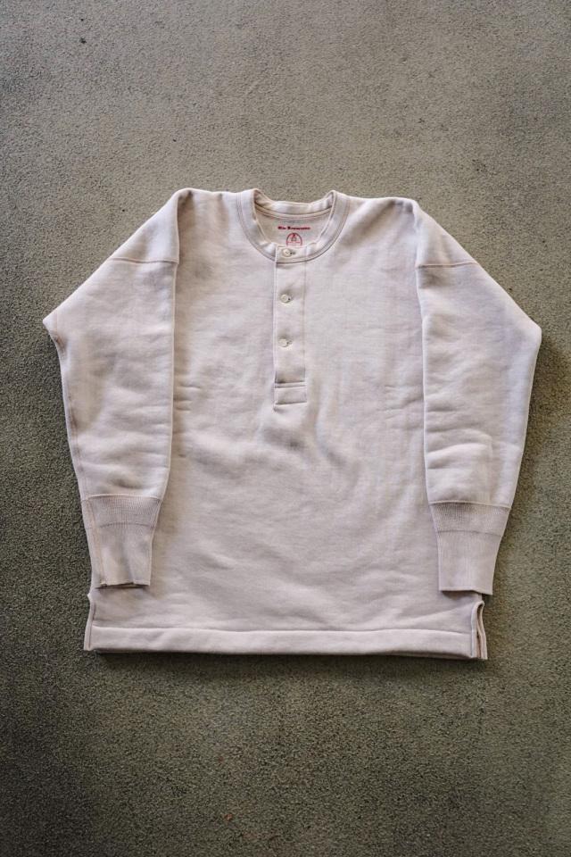 Olde Homesteader US012 Cotton Fleece Henley Neck Long Sleeve PARCHMENT