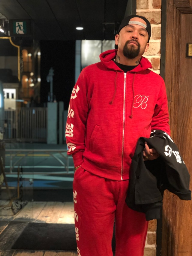 B.S.M.G. B LETTERS SWEAT - PARKA RED