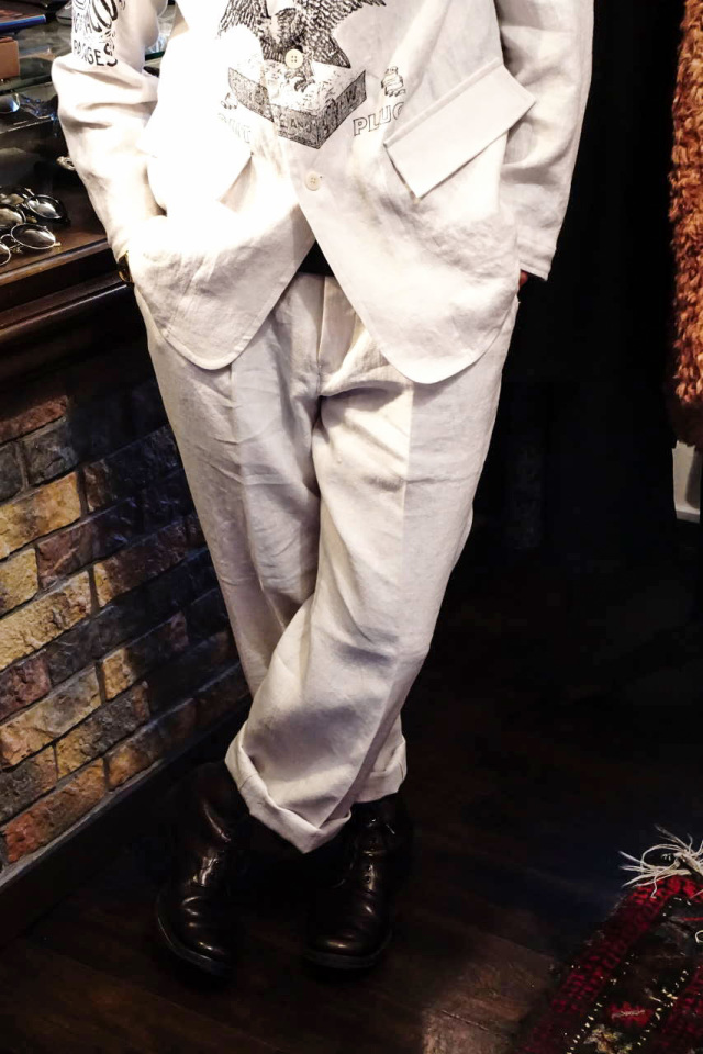 BY GLAD HAND FOR SMOKING - LINEN TROUSER IVORY