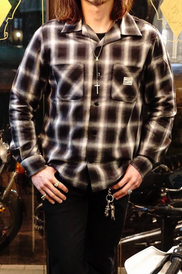 GANGSTERVILLE JACK - L/S CHECK SHIRTS BLACK