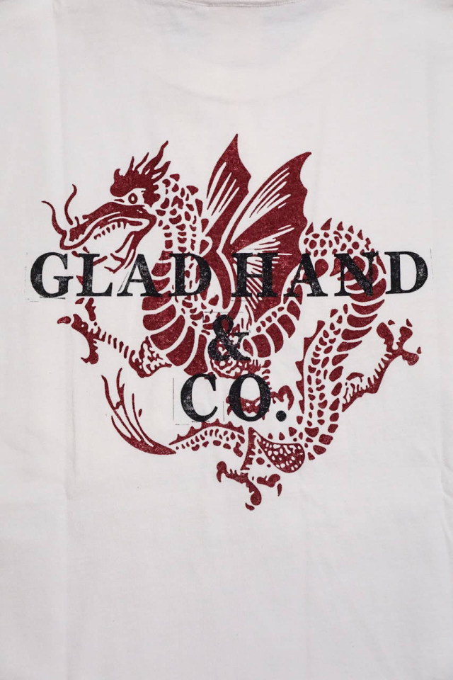 GLAD HAND × FULL COUNT  DRAGON - S/S T-SHIRTS WHITE