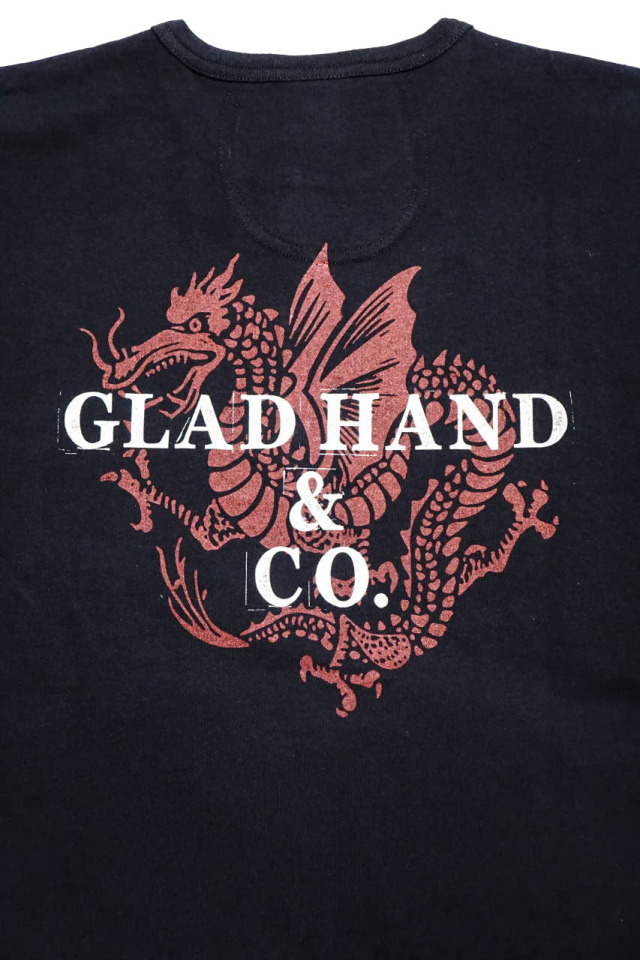 GLAD HAND × FULL COUNT DRAGON - S/S HENRY T-SHIRTS BLACK