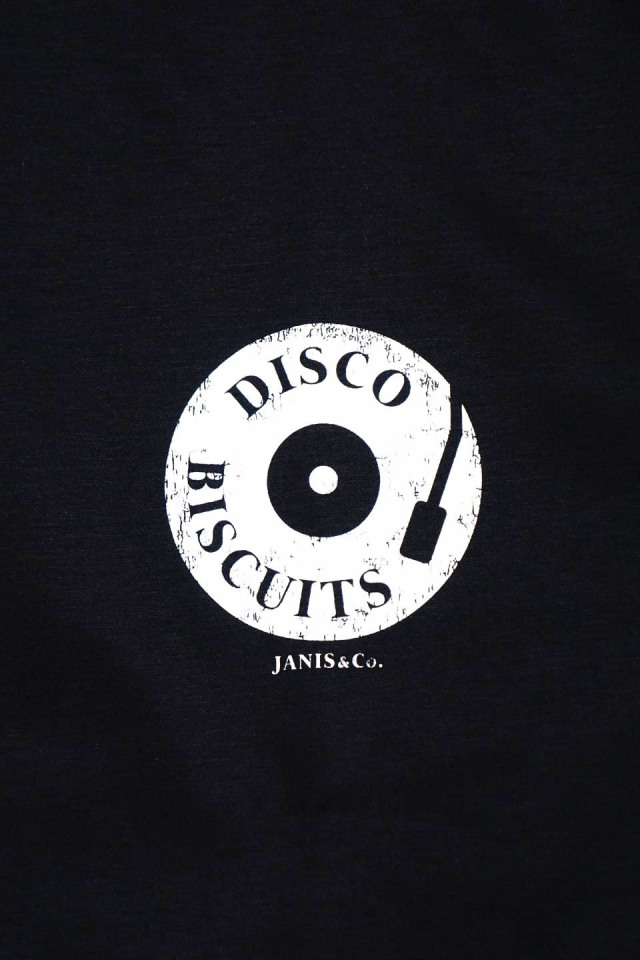 JANIS & Co. #DISCO BISCUITS TEE BLACK