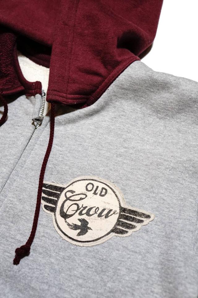 OLD CROW SPEEDWAY - SWEAT ZIP UP HOODIE GRAY × BURGUNDY