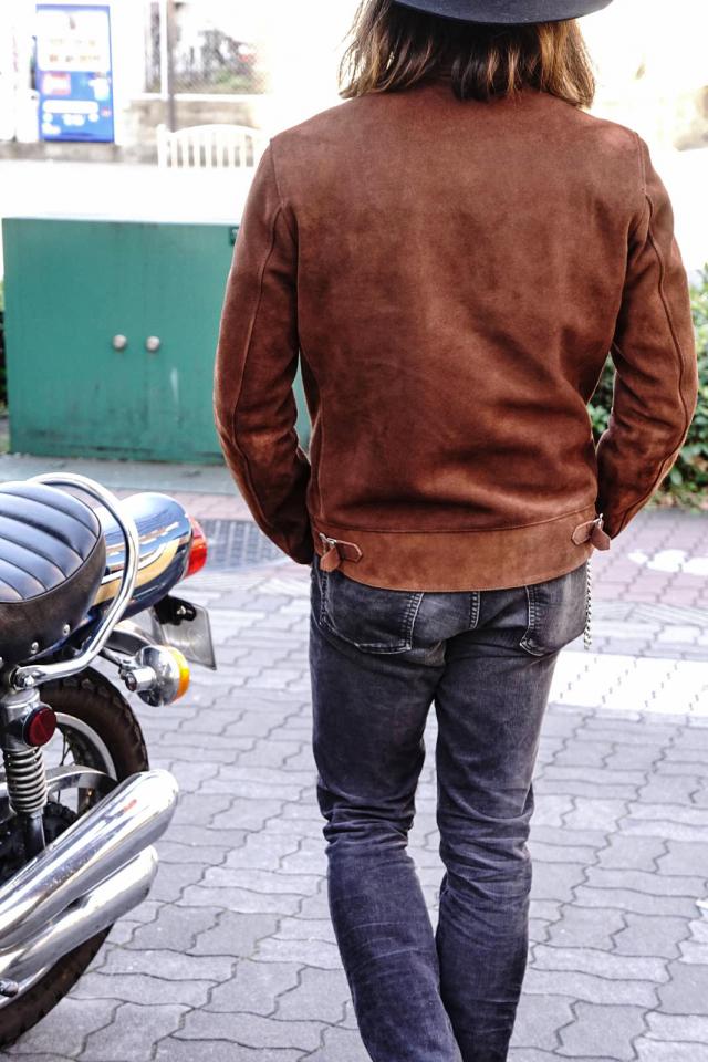 ADDICT CLOTHES JAPAN AD-01 CENTER-ZIP JACKET (DEER SUEDE) BROWN