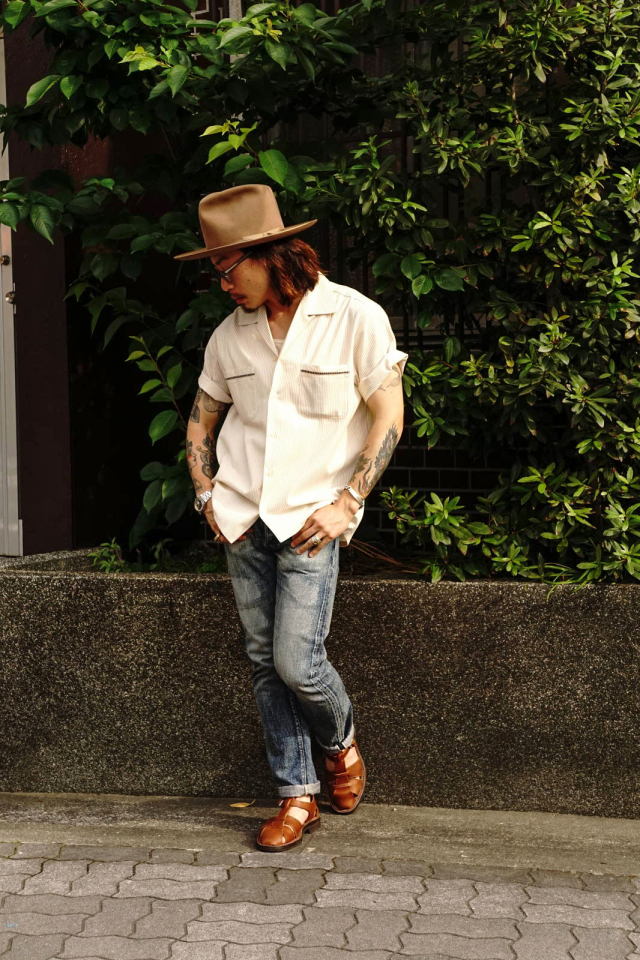 GANGSTERVILLE ROOSTER - S/S STRIPE SHIRTS BEIGE