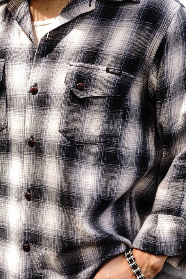 GANGSTERVILLE RIOT OF MIRTH - L/S CHECK SHIRTS BLACK