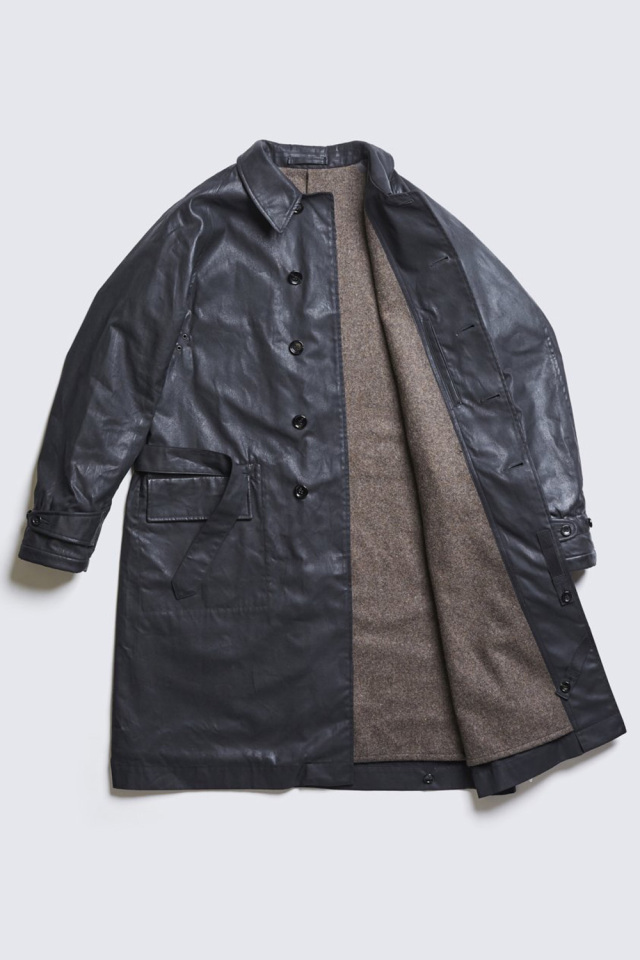ADDICT CLOTHES JAPAN ACVM WAXED COTTON SINGLE DISPATCH COAT BLACK