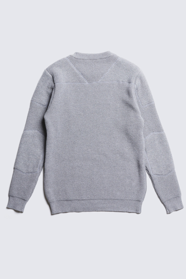 ADDICT CLOTHES JAPAN ACVM PADDED WAFFLE COTTON KNIT L.GREY