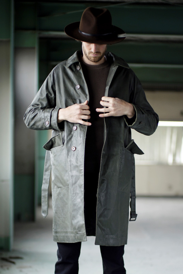 ADDICT CLOTHES JAPAN ACVM WAXED COTTON SINGLE DISPATCH COAT K.GREEN