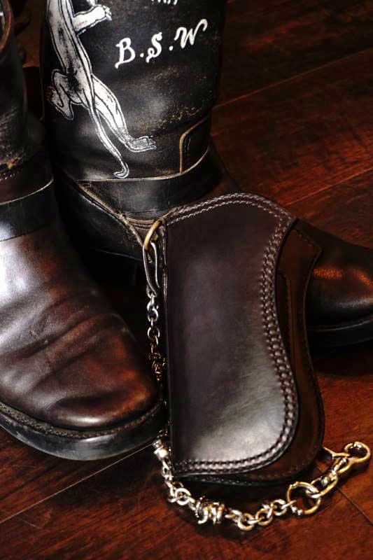 Brass Shoe Co.10th Anniversary Brass ×ATELIER CHERRY Leather Wallet BLACK