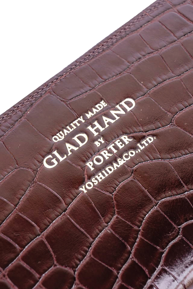 GLAD HAND×PORTER GH - BELONGINGS ZIP WALLET CROCOLIKE