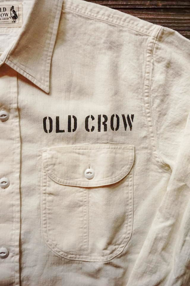 OLD CROW RODDER WORKER - L/S SHIRTS WHITE